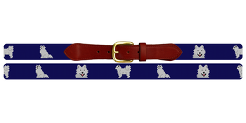 Samoyed Needlepoint Belt