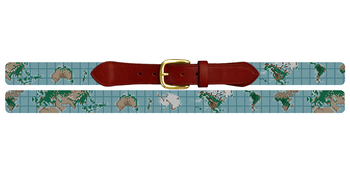 World Map Needlepoint Belt