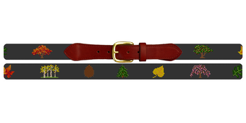 Trees and Leaves Needlepoint Belt