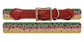 Rainbow Trout Skin Needlepoint Dog Collar