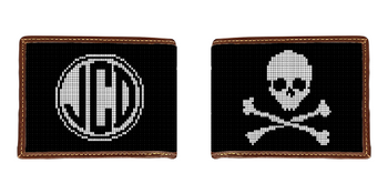 Skull and Crossbones Needlepoint Wallet