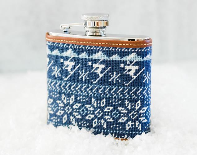 Nordic Skiing Needlepoint Flask