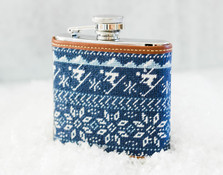 Nordic Skiing Needlepoint Flask