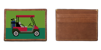 Golf Cart Needlepoint Card Wallet