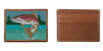 Rainbow Trout Needlepoint Card Wallet
