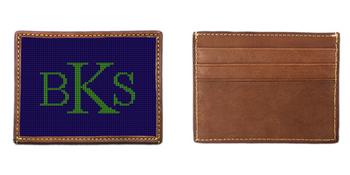 Monogram Needlepoint Card Wallet