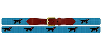 Electric Blue Black Lab Needlepoint Belt
