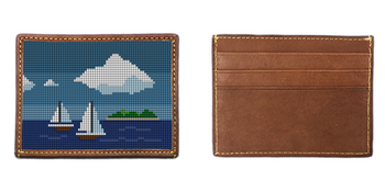 Island Sailing Needlepoint Card Wallet