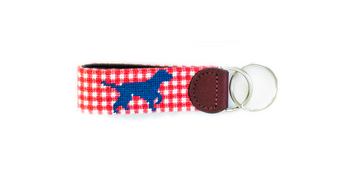Brewster Pointing Lab Needlepoint Key Fob