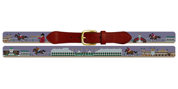 Louisville Kentucky Horse Racing Needlepoint Belt