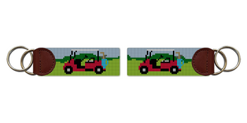 Golf Cart Needlepoint Key Fob