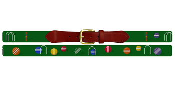 Colorful Croquet Needlepoint Belt
