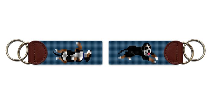 Bernese Mountain Dog Needlepoint Key Fob