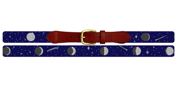 Moon Phases Needlepoint Belt