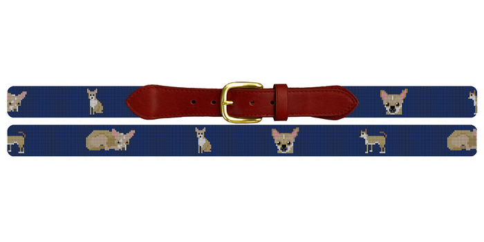 Chihuahua Needlepoint Belt