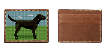 Black Lab Needlepoint Card Wallet