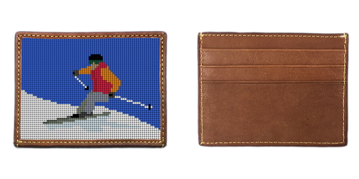 Skiing Needlepoint Card Wallet