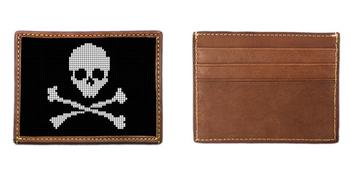 Skull and Crossbones Needlepoint Card Wallet