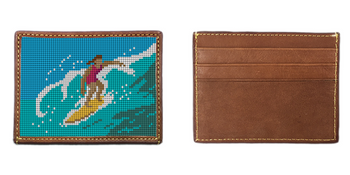 Surfing Girl Needlepoint Card Wallet