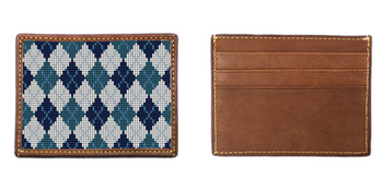 Preppy Argyle Needlepoint Card Wallet