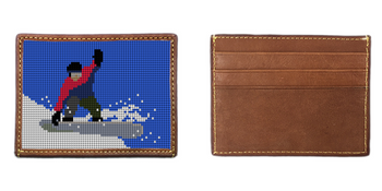 Snowboarding Needlepoint Card Wallet
