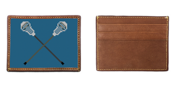 Lacrosse Sticks Needlepoint Card Wallet