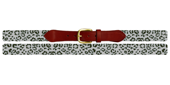 Snow Leopard Needlepoint Belt
