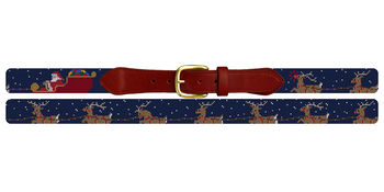 Santa's Reindeer Needlepoint Belt