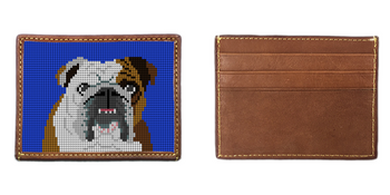 English Bulldog Portrait Needlepoint Card Wallet
