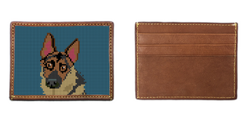 German Shepherd Portrait Needlepoint Card Wallet