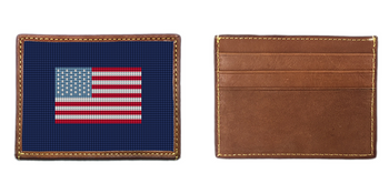 US Flag Needlepoint Card Wallet