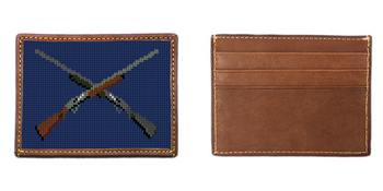 Crossed Shotguns Needlepoint Card Wallet