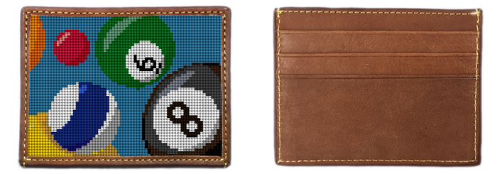 Billiards Needlepoint Card Wallet