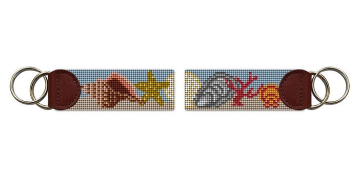 Seashell Needlepoint Key Fob