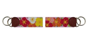 Plentiful Poppies Needlepoint Key Fob