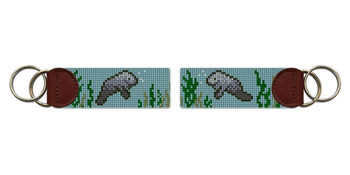 Manatee Needlepoint Key Fob