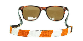 Orange and White Needlepoint Sunglass Strap
