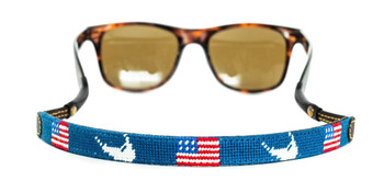 Nantucket and USA Flag Needlepoint Sunglass Strap