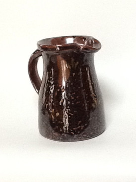 One Quart Straight Pitcher-Brown over White