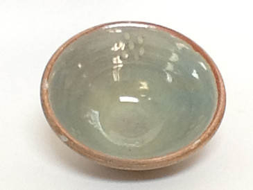 Salsa Bowl-Turquoise colored over white dots