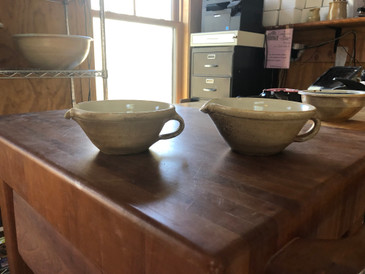 Small Mixing Bowl with Handle-Woodfire Vapor Glaze