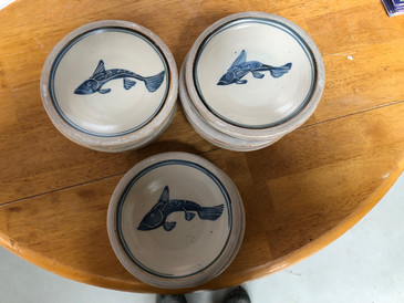 6 Side Plate-Blue Fish--Kenniston- free shipping!