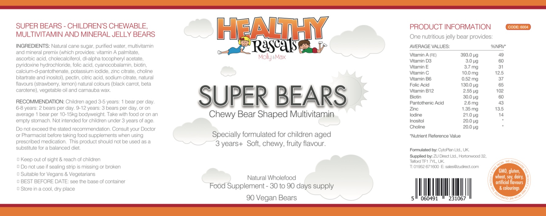 Healthy Rascals - Super Bears Label