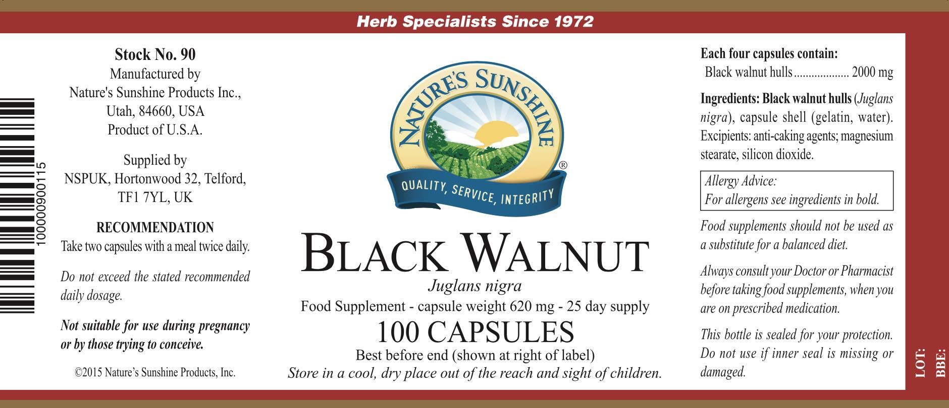 Nature's Sunshine - Black Walnut (100 Capsules) - Label