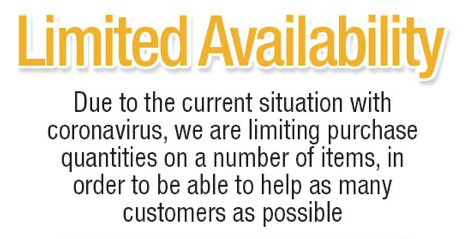 Limited Availability Due To Coronavirus
