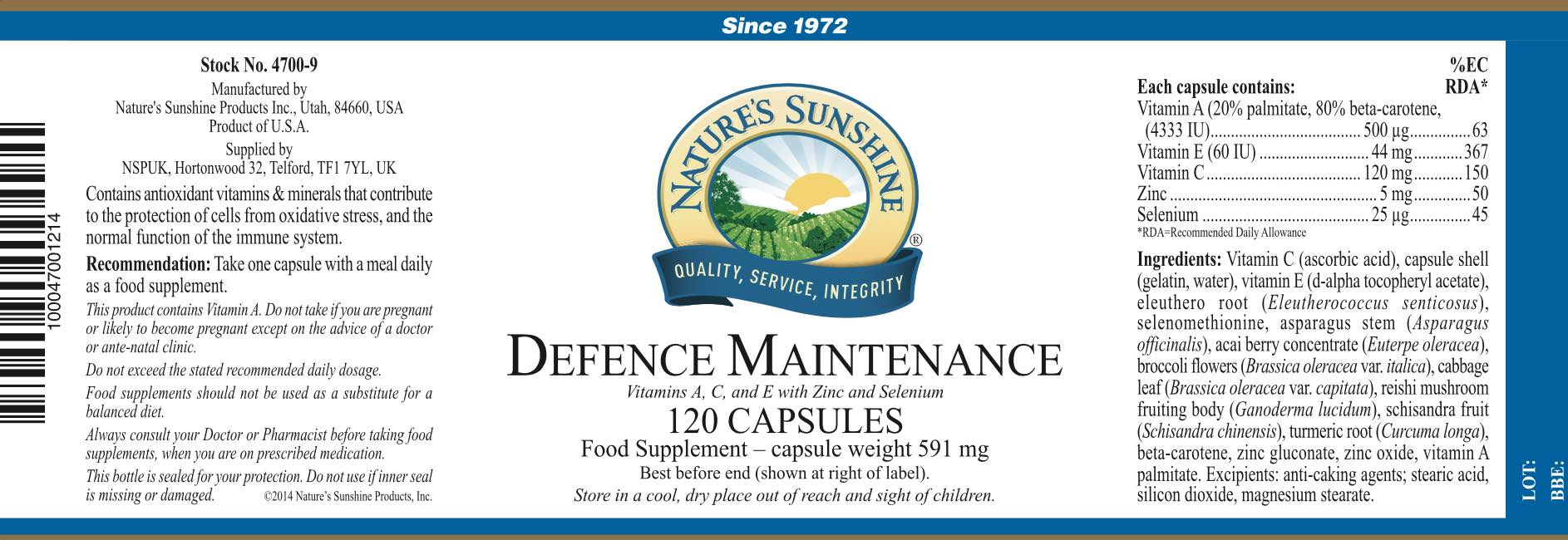 Nature's Sunshine - Defence Maintenance
