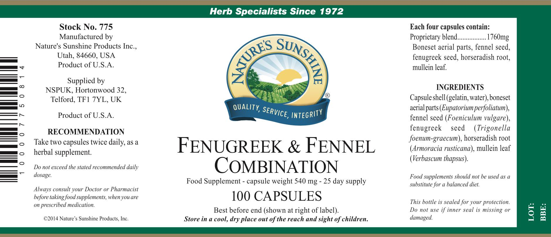 Nature's Sunshine Fenugreek & Fennel Combination - Label