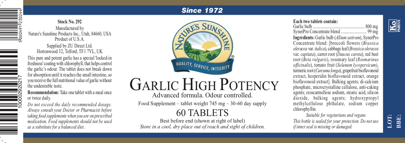 Nature's Sunshine - Garlic High Potency - Label