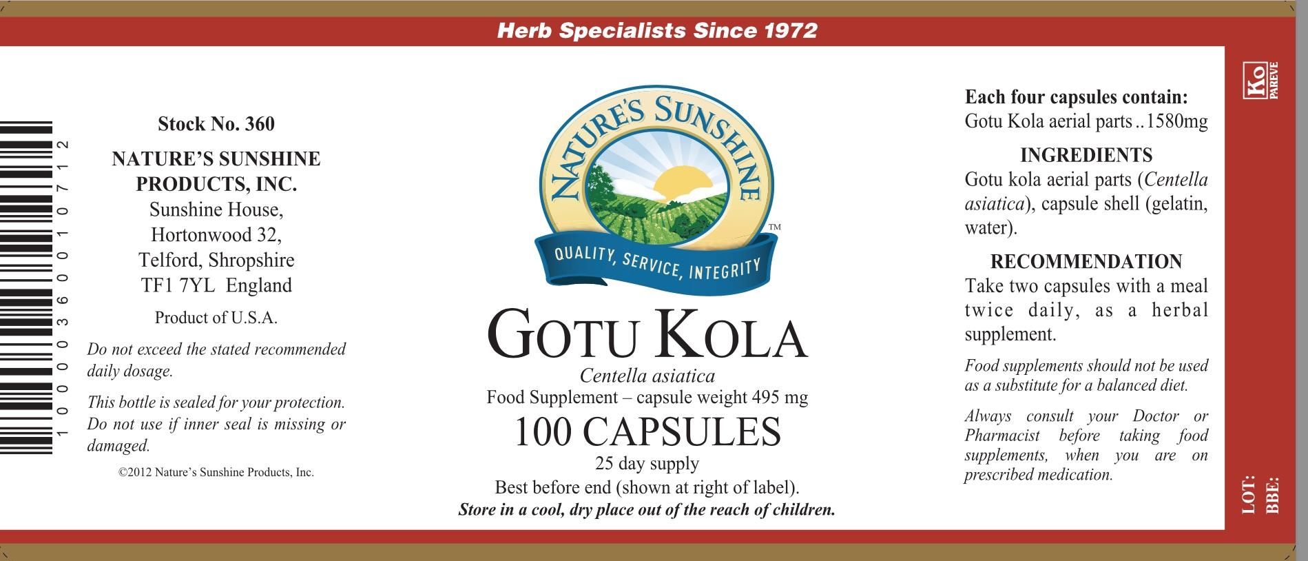 Nature's Sunshine Gotu Kola Label