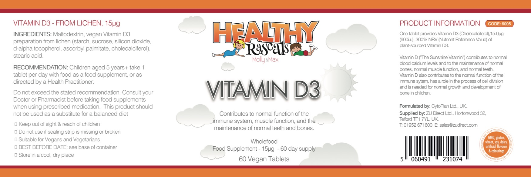 Heathy Rascals - Vitamin D3 - Label